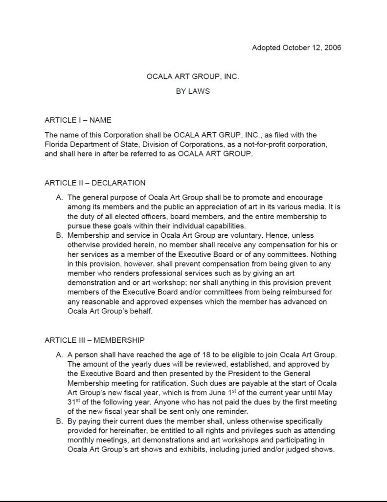 Ocala Art Group Bylaws