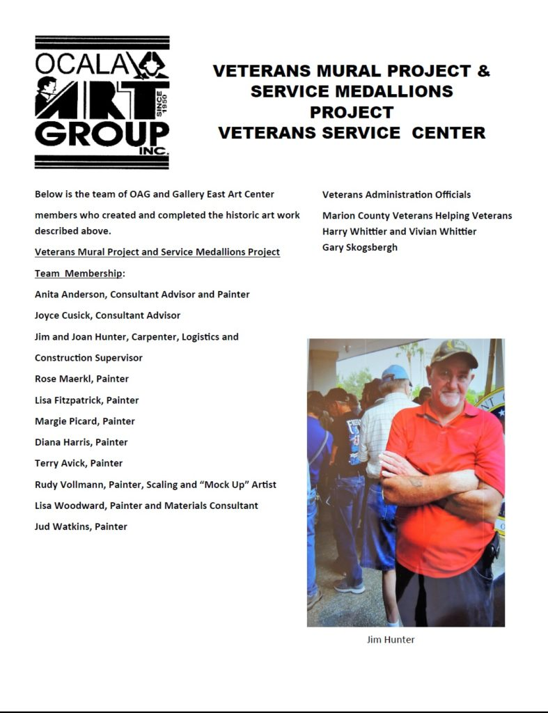 Team of OAG and Gallery East members on the Veterans Project