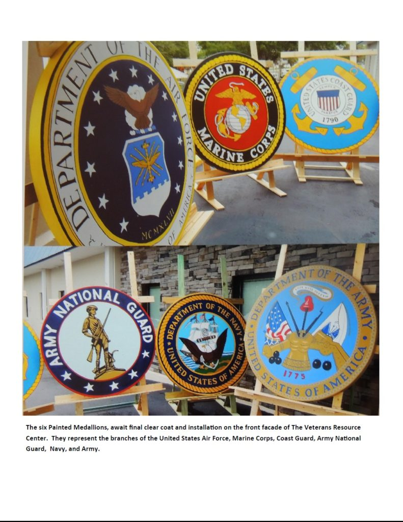 Painted Medallions: Air Force, Marine Cops, Coast Guard ,Army National Guard, Navy, and Army